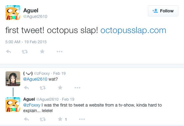first tweet about octopus slap